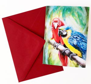 Gomez Rueda - Karten, Grußkarte Papageien
