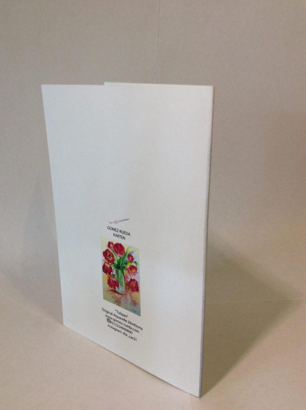 "Kunstkarte & Grußkarte ""Tulipan"" der Künstlerin Gomez Rueda - Rückseite"