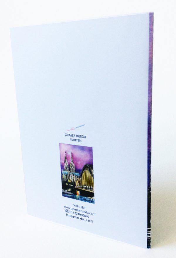 Gomez Rueda - Karten, Grußkarte Köln lila