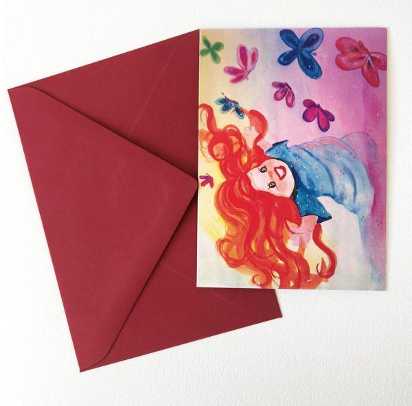 """Gomez Rueda - Karten, Kunstkarte und Grußkarte """"Niña con mariposas"""""""